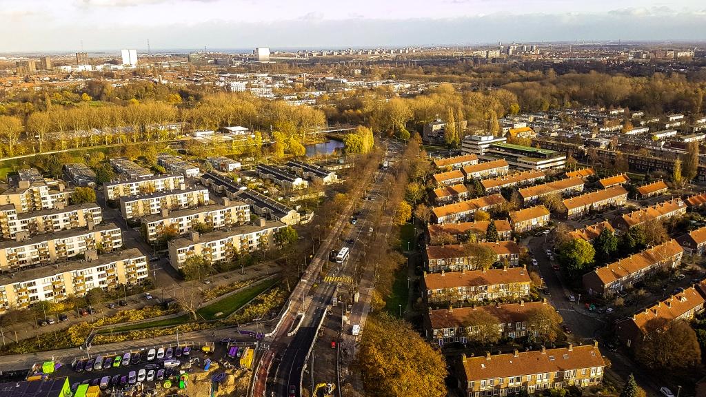 Aerial view on Amsterdam urbanism