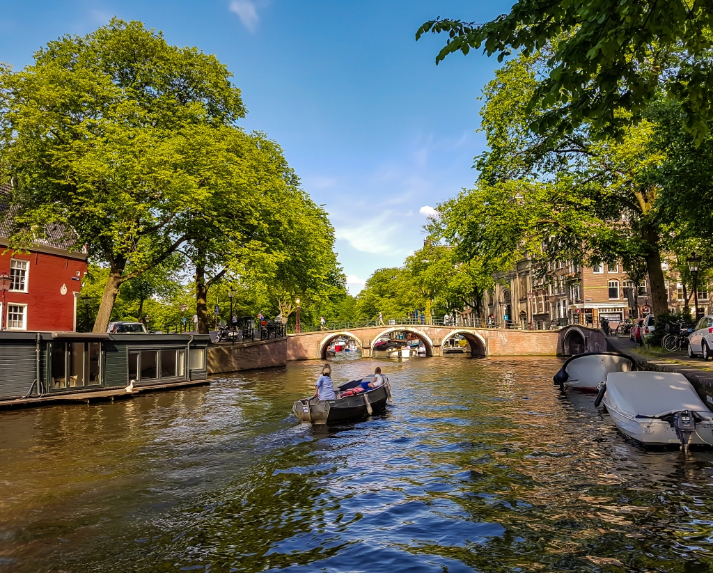 A boat in Amsterdam canals