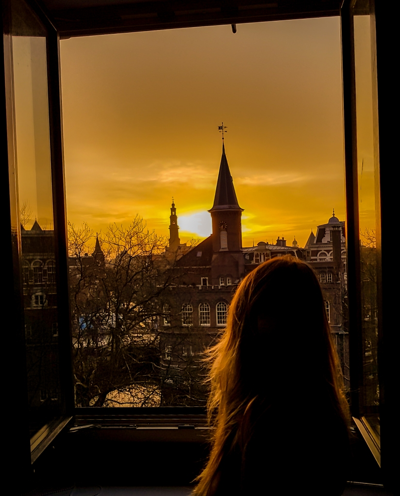 A sunset from the window in Amsterdam Nassaukade