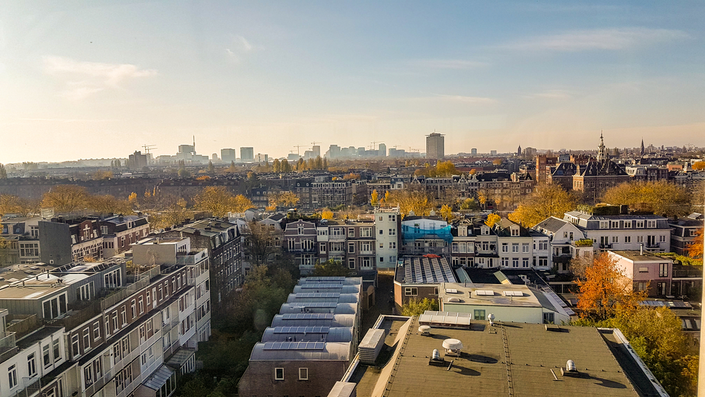 Rooftop view on Amsterdam and its surroundings