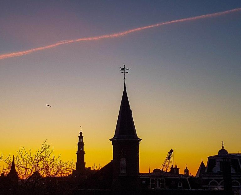 Beautiful colours of the sunset in Nassaukade street, Amsterdam West