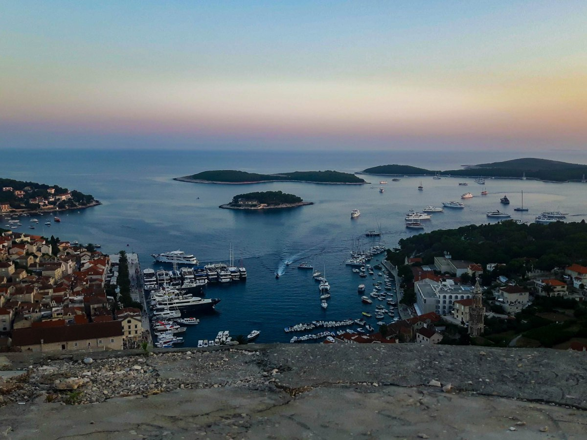 The view on Hvar town and Pakleni islands in Adriatic Sea, Croatia