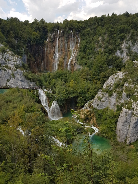 Stunning view on Sastavci waterfalls and the Great Waterfall (Veliki slap) in Croatia
