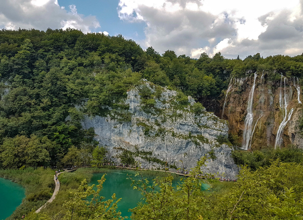 The Great waterfall or Croatian: Veliki slap and Dinarides karst landscape