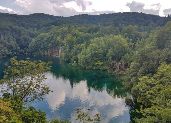 One of the Plitvice lakes shown from a Upper lakes hiking trails