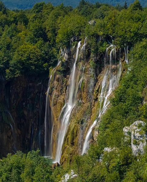 The view from different angle on Great Waterfall (Veliki slap) in Plitvice Lakes National Park