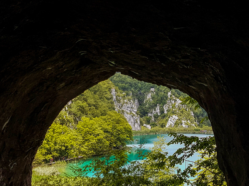 The view from a cave in Plitvice Lakes