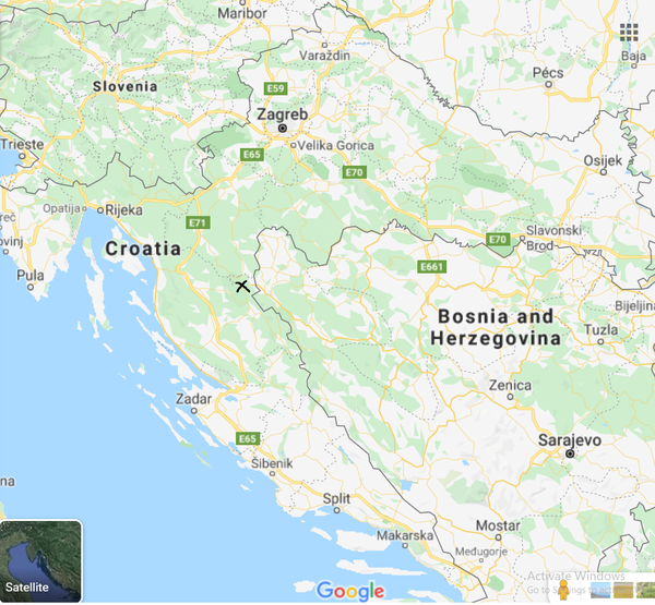 Plitvice are located halfway between capital city Zagreb and Adriatic city Zadar which is shown in a Google Maps photo screenshot of Croatia