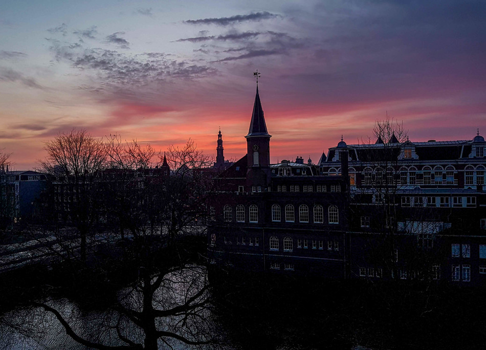 An amazing sunset colours in Amsterdam