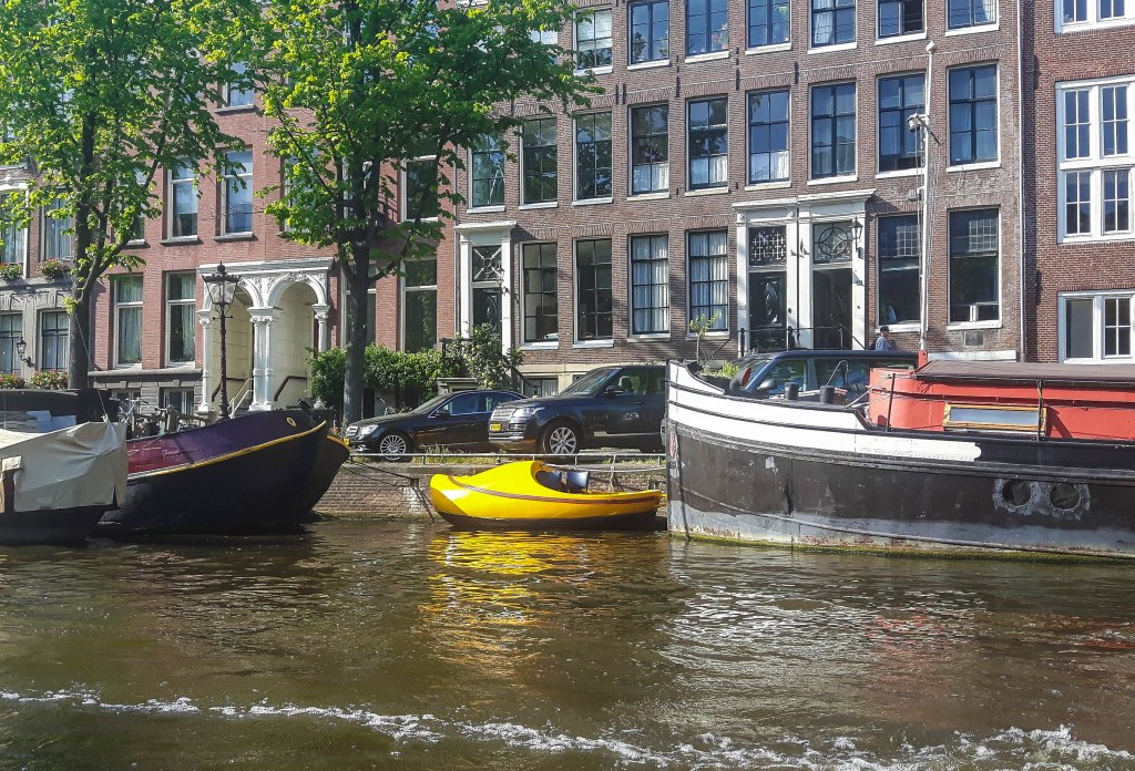Clog boat spotted in the canals of Amsterdam