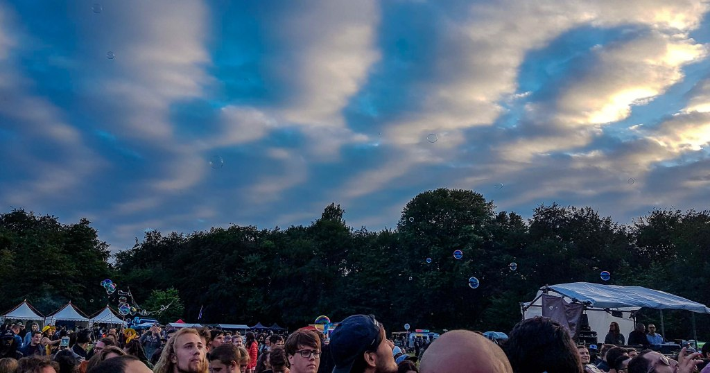 Blue sky and interesting clouds with bubbles all around in Amsterdam Cannabis Cup Festival