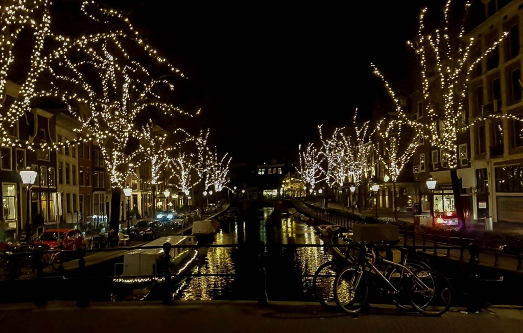 Amsterdam's Canals decorated with lights in December