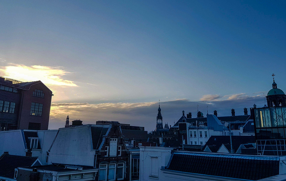 The view on the roofs of Amsterdam houses