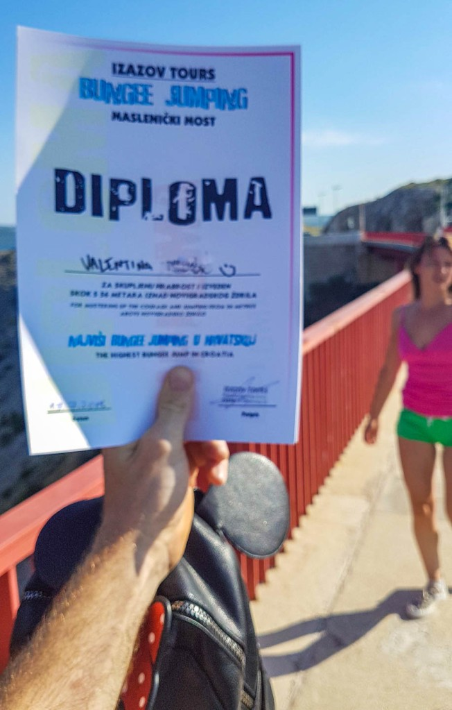 Bungee Jumping diploma from Maslenica bridge in Croatia