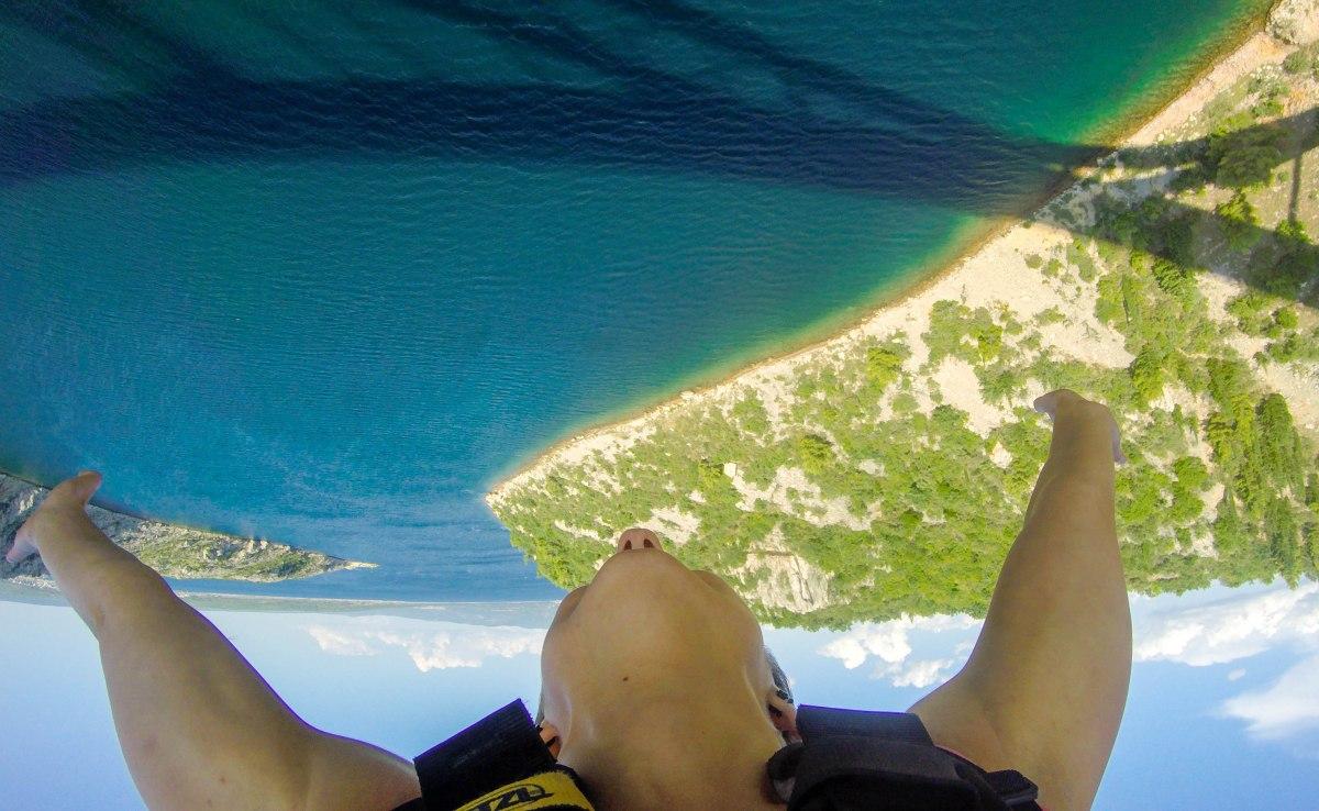 Bungee Jumping in Croatia, over Maslenica bridge and blue Adriatic sea