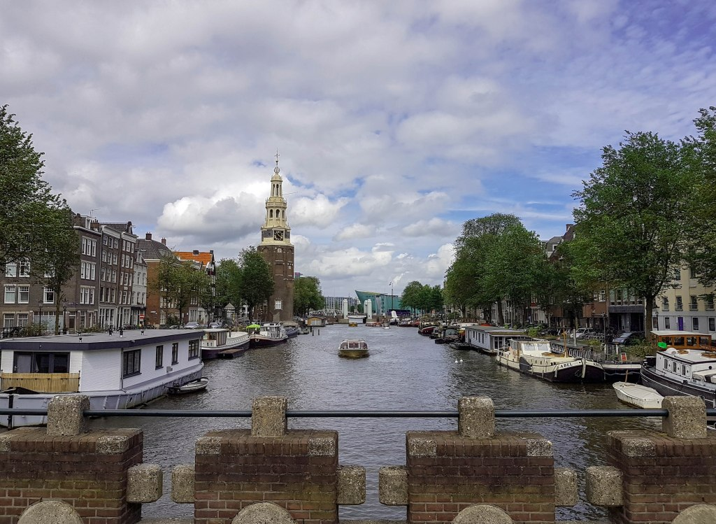 The view from a bridge over Amsterdam canal