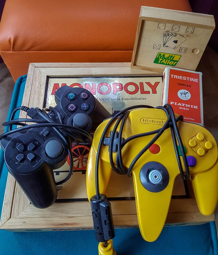 Board games, monopoly and console joysticks