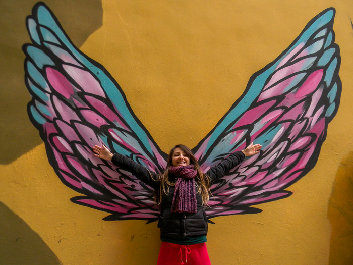 Wings street art in Valencia, Spain