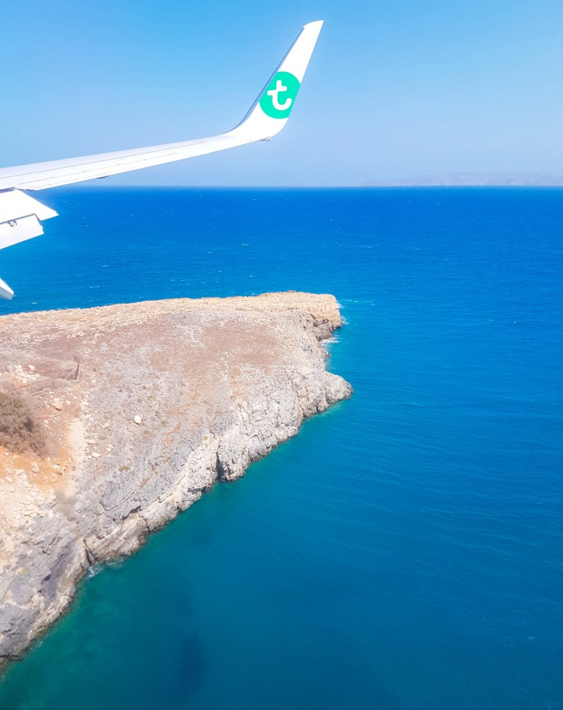 Aerial photo from an Transavia airplane towards Crete island
