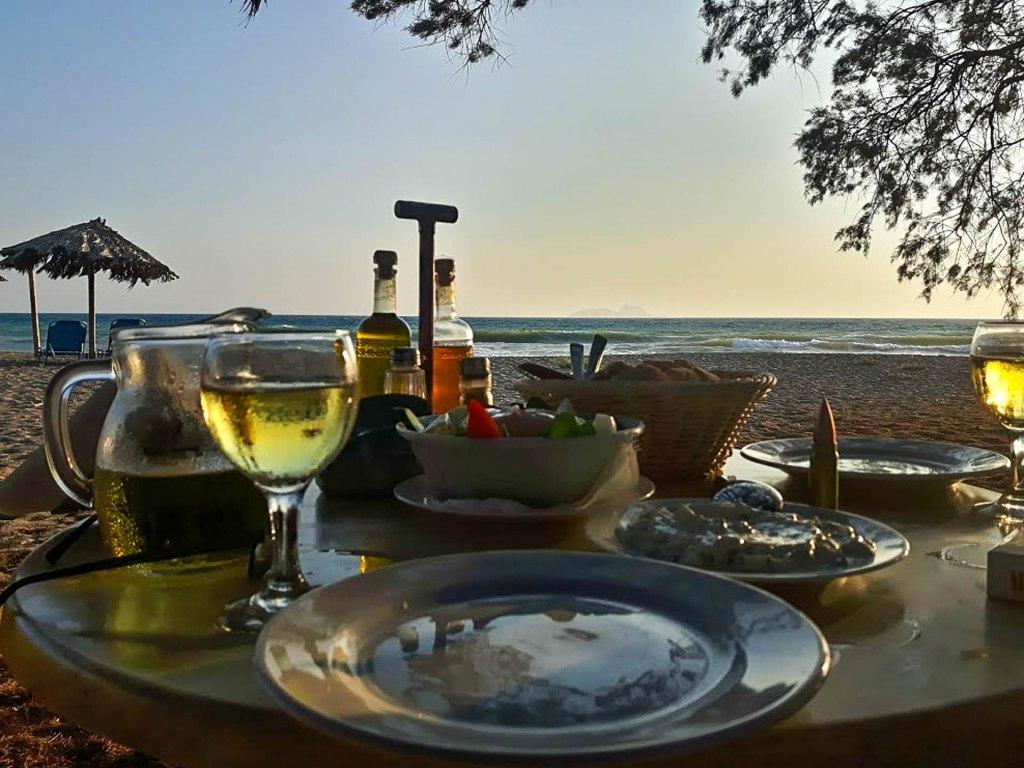 Greek food in traditional Cretan taverna