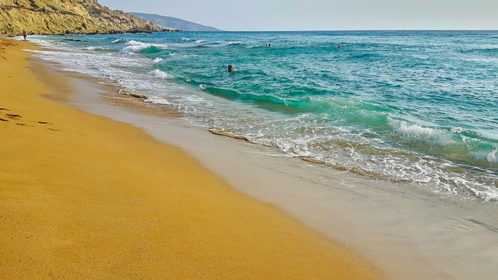Red sand in Red Beach Crete island Greece