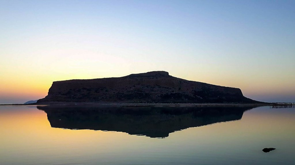 Balos Lagoon in Crete island, Greece during the sunset time