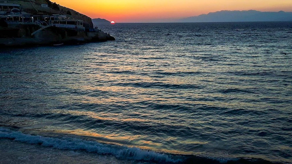 Sunset view in Matala village Crete island
