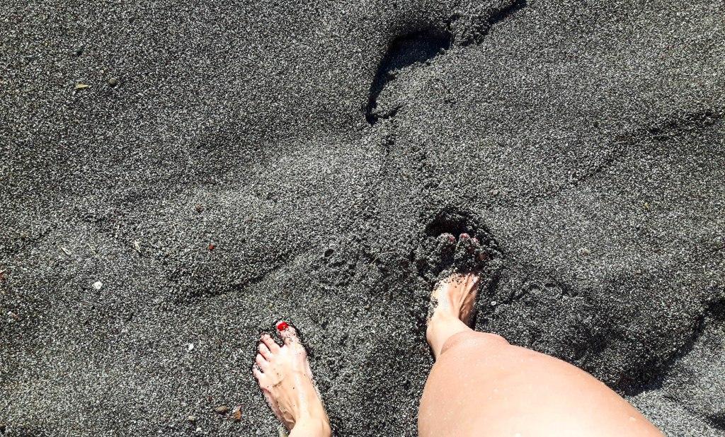 Black sand in Crete island