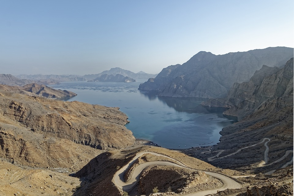 Roads along mountains and paths in Oman country