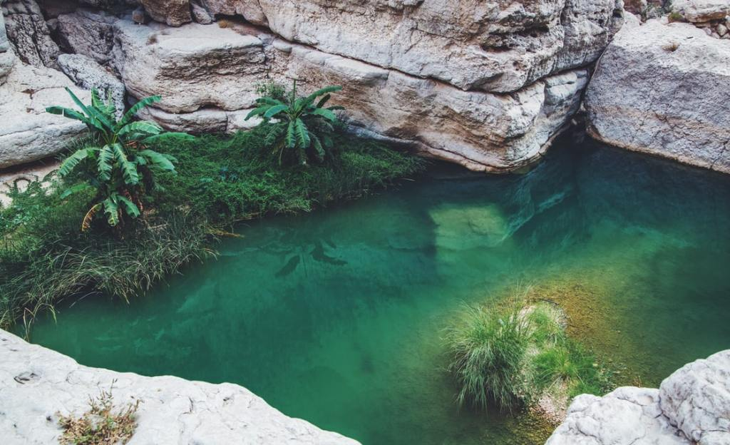 Wadi Ash Shab in the Oman country