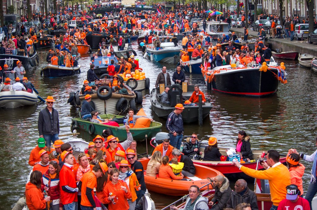 People wearing orange on King's Day the Netherlands