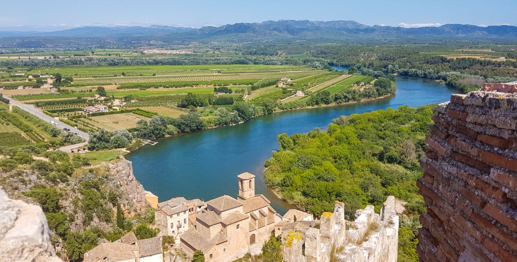 The view from Miravet castle to Miravet muncipality and Ebro river