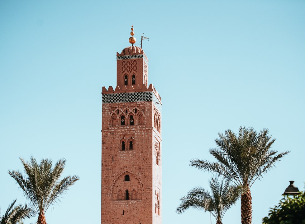 Moroccan architecture and palm trees