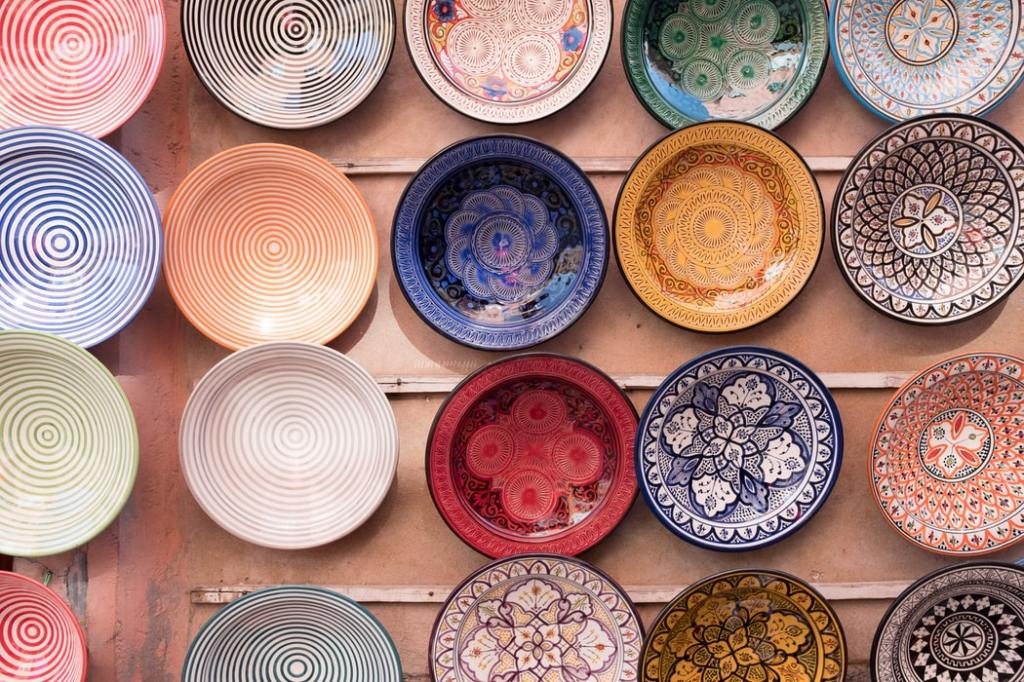 Handmade plates in Morocco