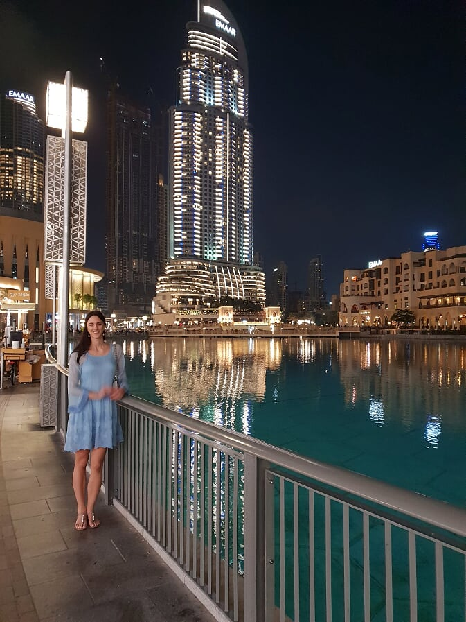A girl in blue dress in Dubai