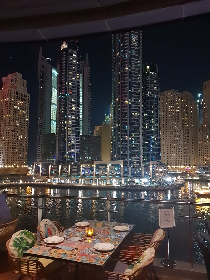 Dubai skylines and restaurant view