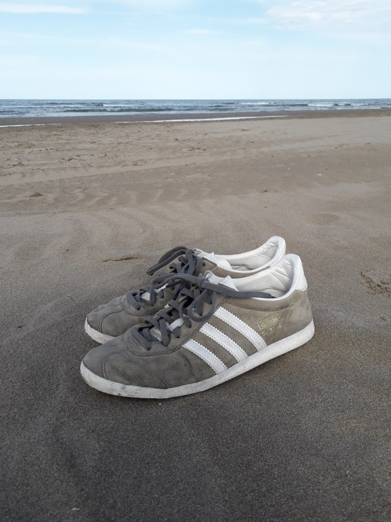 Grey Adidas Gazelle sneakers on the sand beach