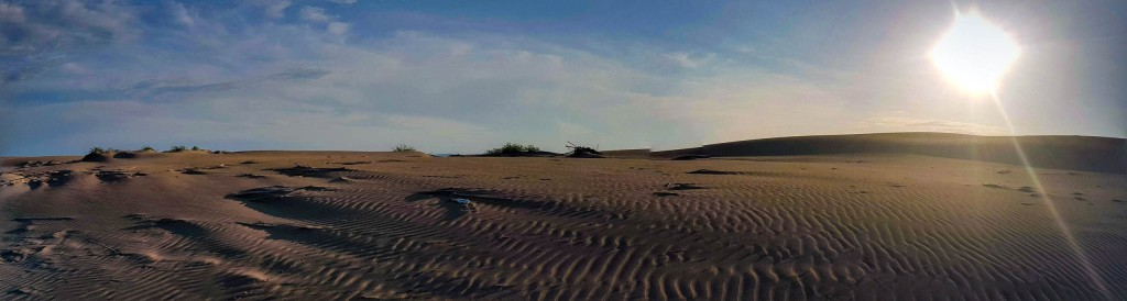 Sunset view on sand dunes in Fangar peninsula in Catalonia