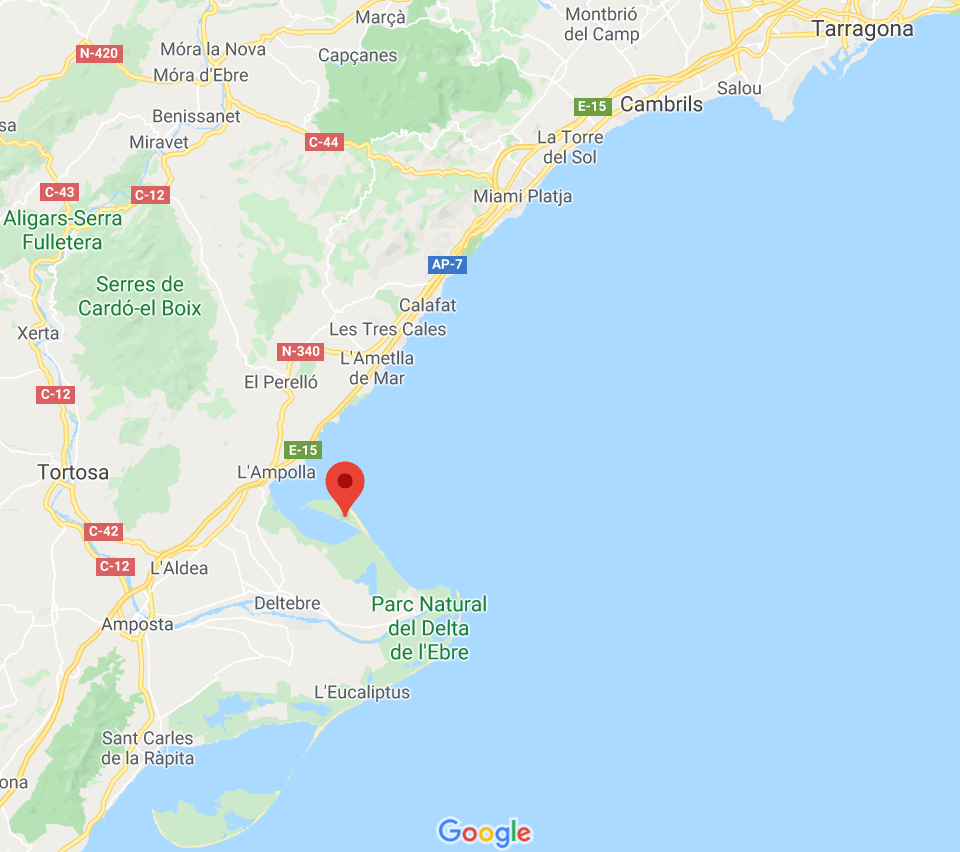 Google maps Catalonia El Fangar Peninsula