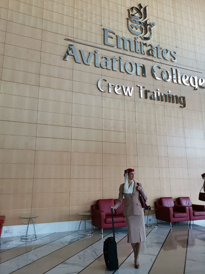 A girl in Emirates Aviation College Crew Training